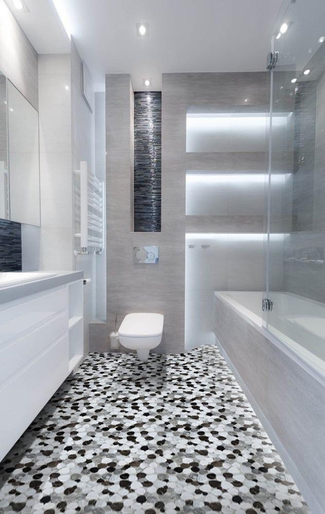 Pebble River Stone White Dark Mosaic Tile 48 Decor Papa Classy Bathroom Tile Calculator Decoration