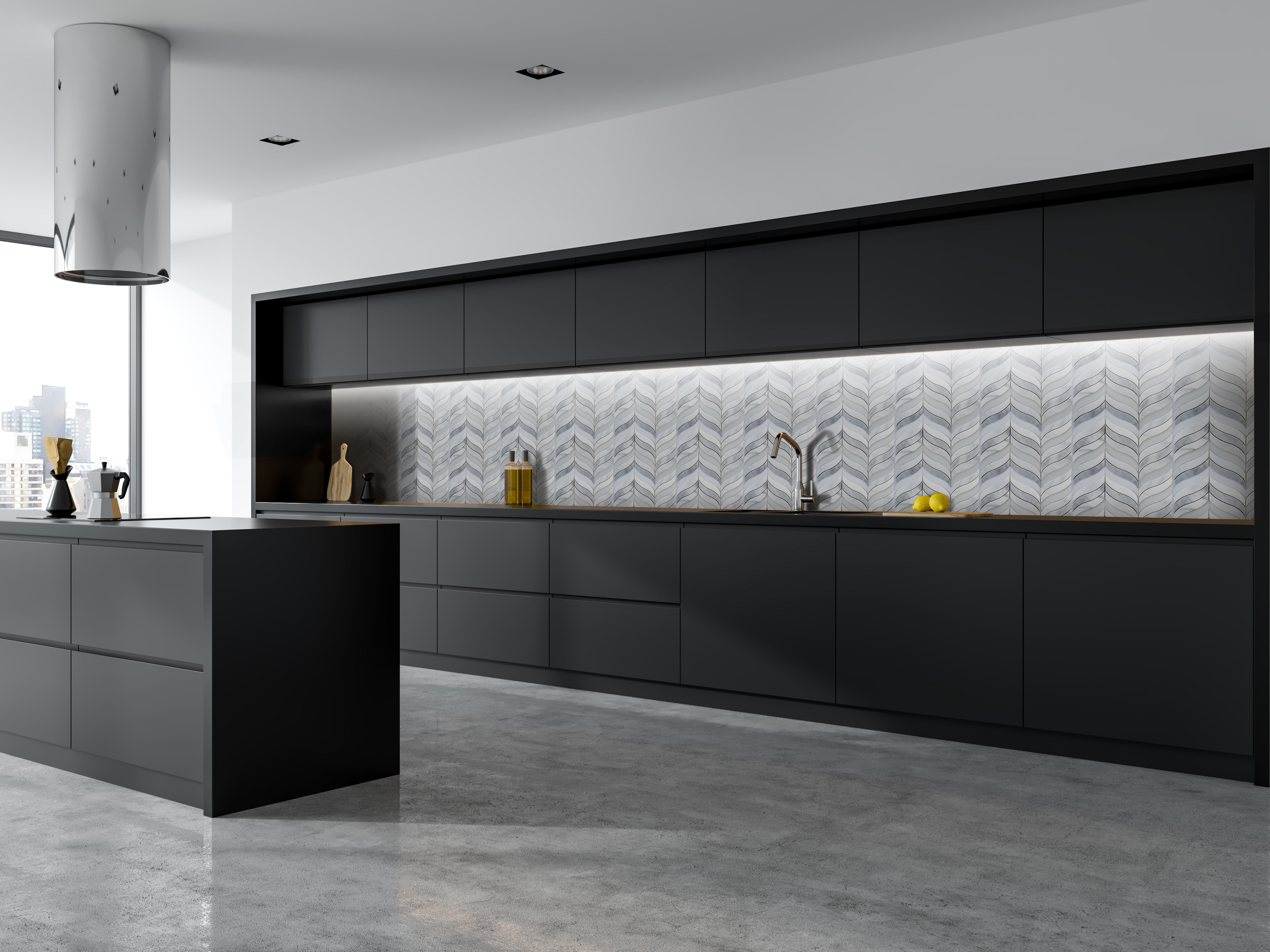 Oriental White Amp Grey Marble With Glass Artistic