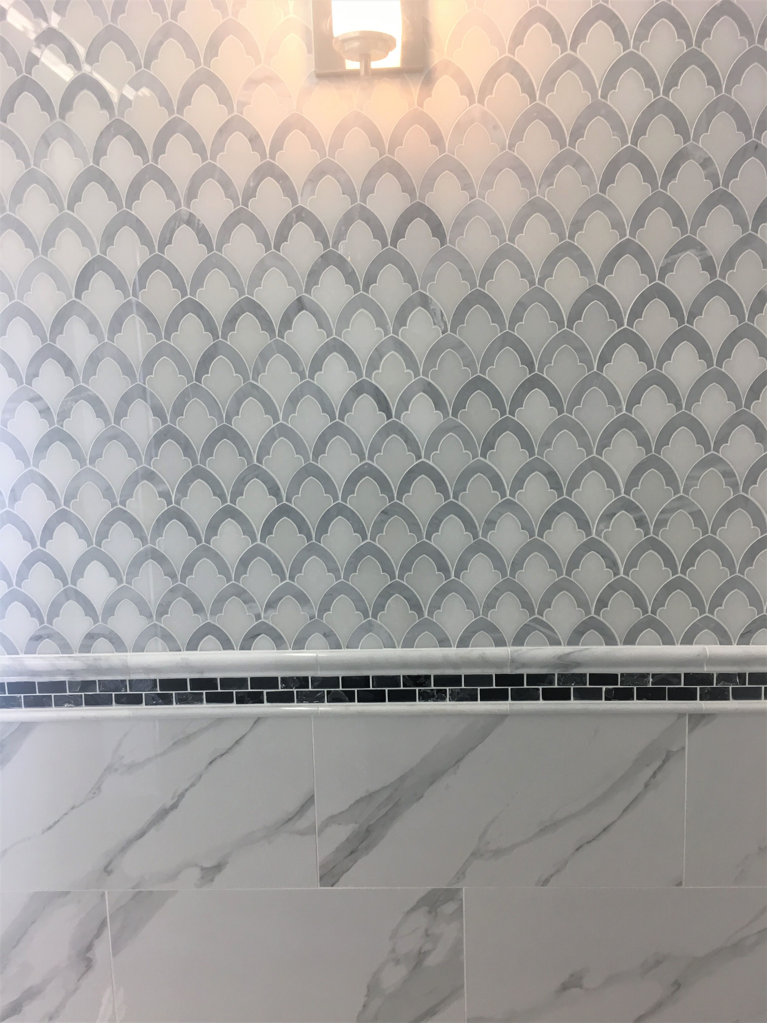 Oriental white and grey marble artictic waterjet mosaic tiles-913 ...